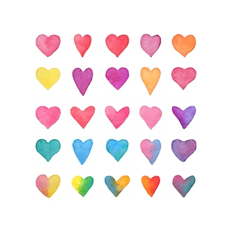 Jeu de coeur aquarelle. collection de coeurs dessinés à la main, isolé sur blanc