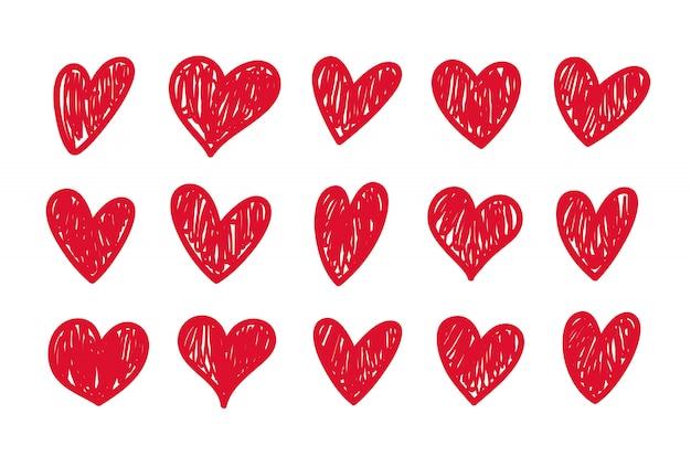 Jeu de coeurs doodle. collection de coeur d'amour dessiné à la main