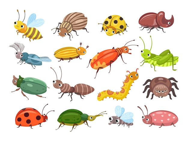 Jeu de coléoptères de dessin animé
