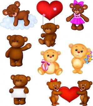 Jeu de collection de dessin animé bébé ours