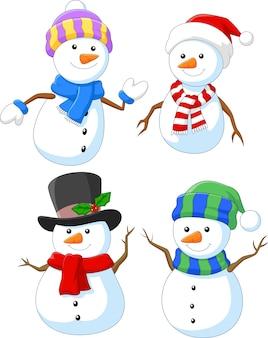 Jeu de collection dessin animé joyeux bonhomme de neige