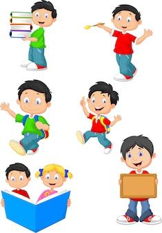 Jeu de collection de dessin animé de joyeux écoliers