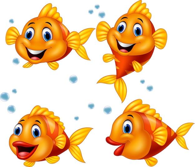 Jeu de collection de dessin animé mignon poisson
