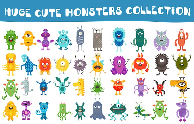 Jeu de collection de monstres mignons de vecteur