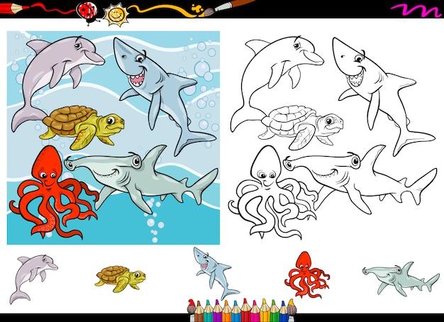 Jeu de coloriage dessin animé vie mer