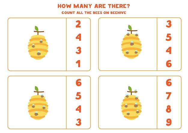 Jeu de comptage avec des abeilles mignonnes sur des ruches. compter le nombre d'angles.