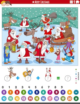 Jeu de comptage et d'addition pour les enfants avec des personnages de dessins animés de noël
