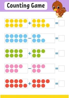 Jeu de comptage d'addition et de soustraction. tâche pour les enfants.