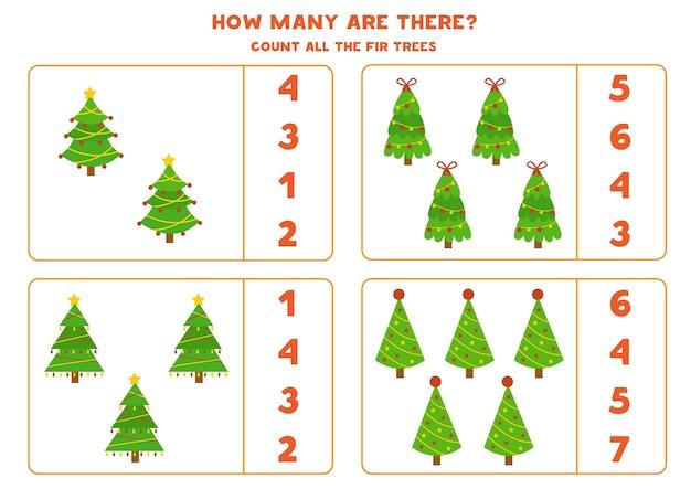 Jeu de comptage avec des arbres de noël de dessin animé. feuille de calcul de mathématiques éducatives.