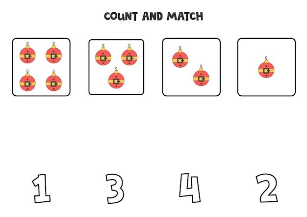 Jeu de comptage avec des boules de noël. feuille de calcul mathématique.