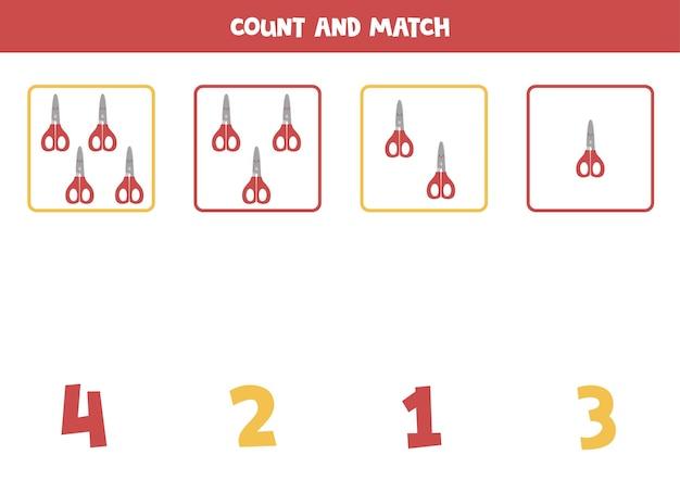 Jeu de comptage avec des ciseaux rouges. feuille de calcul mathématique.