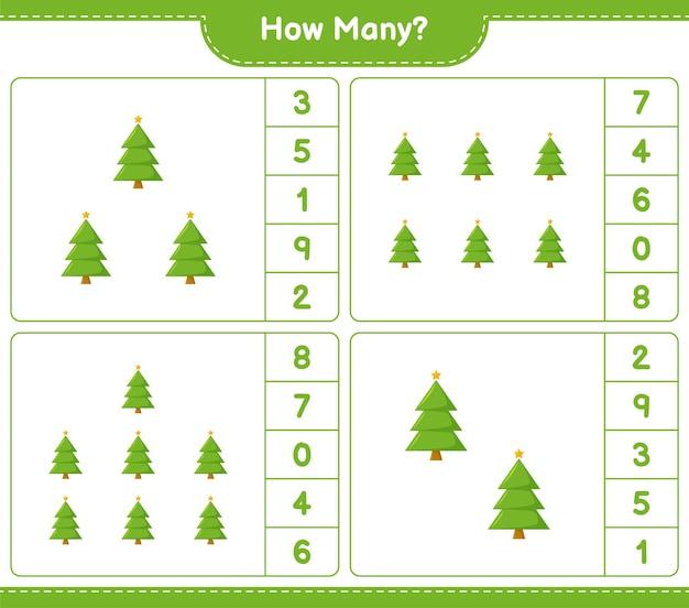 Jeu de comptage, combien d'arbre de noël. jeu éducatif pour enfants, feuille de travail imprimable,