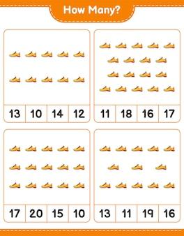 Jeu de comptage combien de chaussures de course feuille de calcul imprimable du jeu éducatif pour enfants