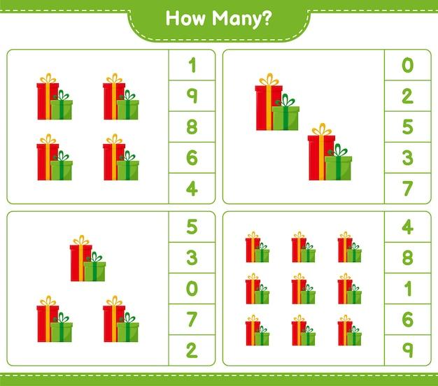 Jeu de comptage, combien de coffrets cadeaux. jeu éducatif pour enfants, feuille de travail imprimable,