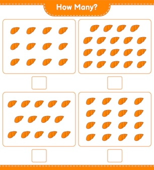 Jeu de comptage, combien de coquillages. jeu éducatif pour enfants, feuille de calcul imprimable