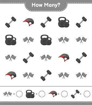 Jeu de comptage combien de drapeaux de course d'haltères et de casque de vélo