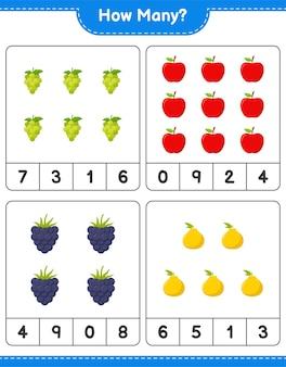 Jeu de comptage, combien de fruits. jeu éducatif pour enfants, feuille de travail imprimable, illustration