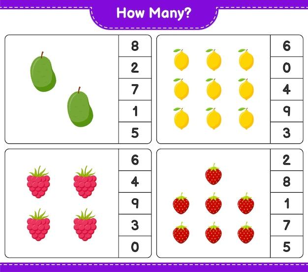 Jeu de comptage, combien de fruits. jeu éducatif pour enfants, feuille de travail imprimable