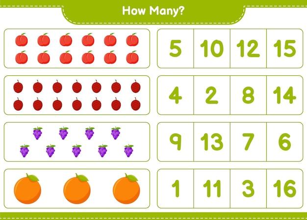 Jeu de comptage, combien de fruits.
