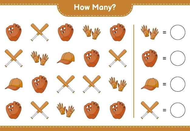 Jeu de comptage combien de gants de baseball gants de golf casquette chapeau et batte de baseball