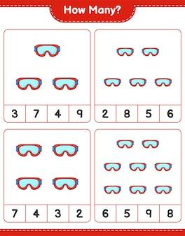 Jeu de comptage, combien de goggle. jeu éducatif pour enfants, feuille de calcul imprimable, illustration vectorielle