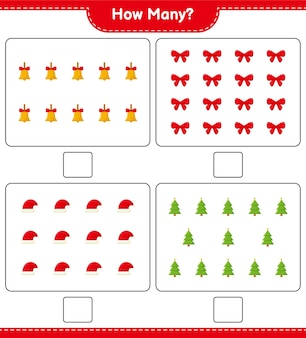 Jeu de comptage, combien de jeu éducatif pour enfants de décoration de noël, feuille de calcul imprimable,