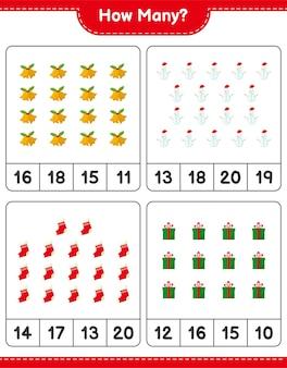Jeu de comptage, combien de jeu éducatif pour enfants de décoration de noël, feuille de calcul imprimable