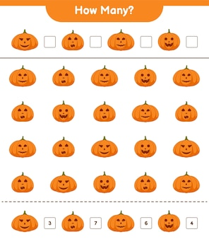 Jeu de comptage, combien de jeux éducatifs pour enfants citrouilles, feuille de calcul imprimable, illustration