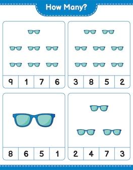 Jeu de comptage, combien de lunettes de soleil. jeu éducatif pour enfants, feuille de calcul imprimable