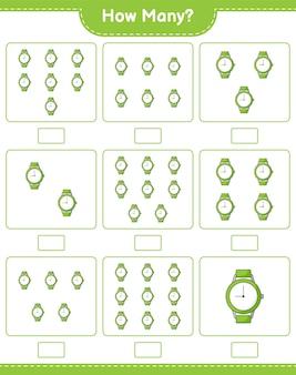 Jeu de comptage, combien de montres. jeu éducatif pour enfants, feuille de travail imprimable