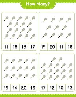 Jeu de comptage combien de raquettes de tennis jeu éducatif pour enfants feuille de calcul imprimable