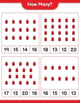 Jeu de comptage, combien de sac de voyage. jeu éducatif pour enfants, feuille de calcul imprimable