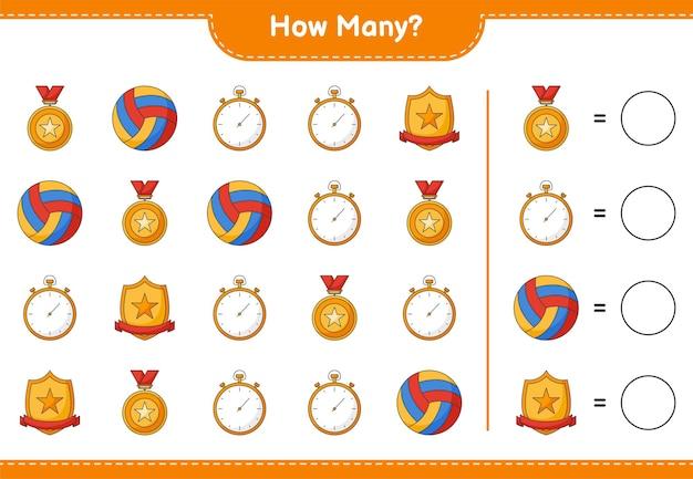 Jeu de comptage combien trophée chronomètre et volleyball jeu éducatif pour enfants