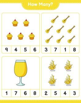 Jeu de comptage, combien d'ukulélé, de cupcake, de corail et de cocktail. jeu éducatif pour enfants, feuille de calcul imprimable