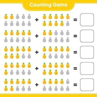 Jeu de comptage, compte le nombre d'ananas et écris le résultat.