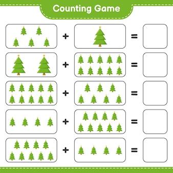 Jeu de comptage, compte le nombre d'arbres de noël et écris le résultat. jeu éducatif pour enfants, feuille de travail imprimable