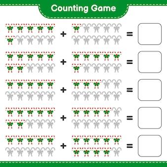 Jeu de comptage, compte le nombre de cannes de bonbon avec ruban et écris le résultat. jeu éducatif pour enfants, feuille de travail imprimable
