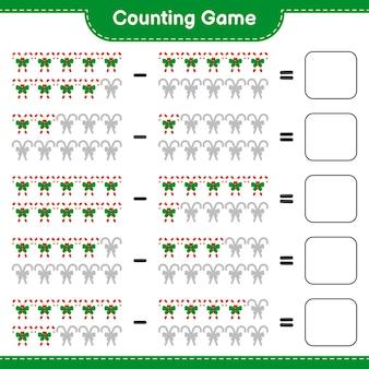 Jeu de comptage, compte le nombre de cannes de bonbon avec ruban et écris le résultat. jeu éducatif pour enfants