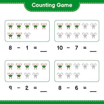 Jeu de comptage, compte le nombre de cannes en bonbon avec ruban et écris le résultat