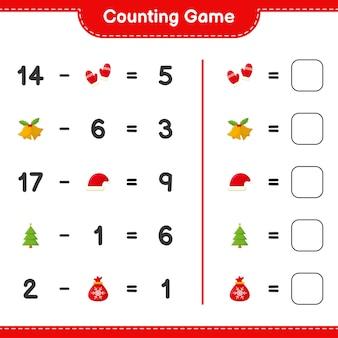Jeu de comptage, compte le nombre de décoration de noël et écris le résultat. jeu éducatif pour enfants