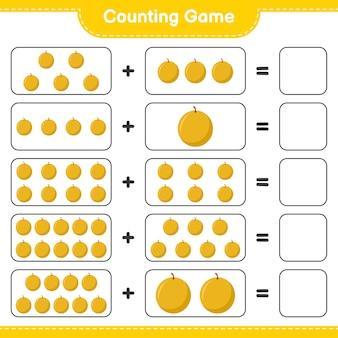 Jeu de comptage, compte le nombre de melon au miel et écris le résultat.