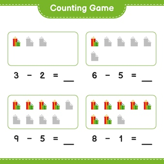 Jeu de comptage, compter le nombre de coffrets cadeaux et écrire le résultat