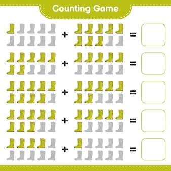 Jeu de comptage, comptez le nombre de bottes en caoutchouc et écrivez le résultat. jeu éducatif pour enfants, feuille de calcul imprimable