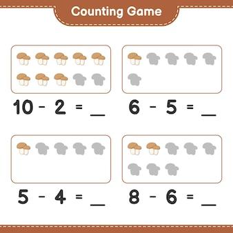 Jeu de comptage, comptez le nombre de cèpes aux champignons et écrivez le résultat. jeu éducatif pour enfants, feuille de calcul imprimable