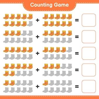 Jeu de comptage, comptez le nombre de chaussettes et écrivez le résultat. jeu éducatif pour enfants, feuille de calcul imprimable
