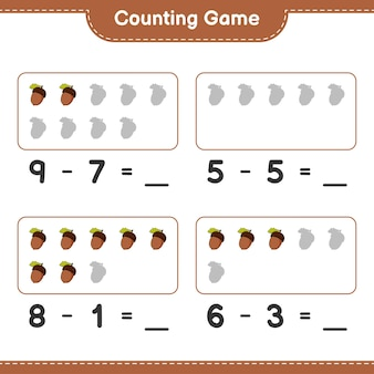 Jeu de comptage, comptez le nombre de glands et écrivez le résultat. jeu éducatif pour enfants, feuille de calcul imprimable