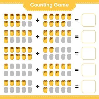 Jeu de comptage, comptez le nombre de jam et écrivez le résultat. jeu éducatif pour enfants, feuille de calcul imprimable