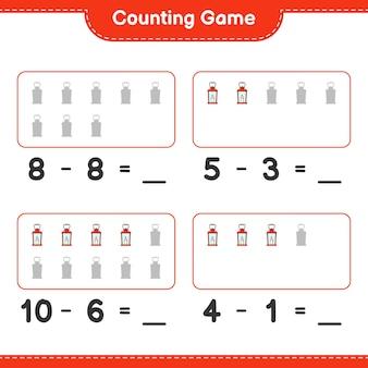 Jeu de comptage, comptez le nombre de lanterne et écrivez le résultat. jeu éducatif pour enfants, feuille de calcul imprimable