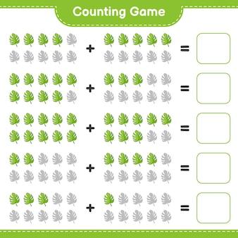 Jeu de comptage comptez le nombre de monstera et écrivez le résultat jeu éducatif pour enfants