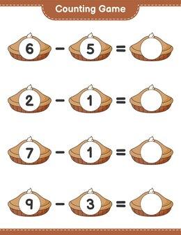 Jeu de comptage, comptez le nombre de tartes et écrivez le résultat. jeu éducatif pour enfants, feuille de calcul imprimable